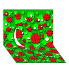Xmas flowers Circle 3D Greeting Card (7x5)