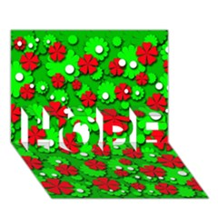 Xmas flowers HOPE 3D Greeting Card (7x5)