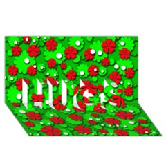 Xmas flowers HUGS 3D Greeting Card (8x4)