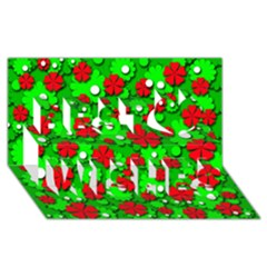Xmas flowers Best Wish 3D Greeting Card (8x4)