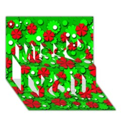 Xmas Flowers Miss You 3d Greeting Card (7x5)