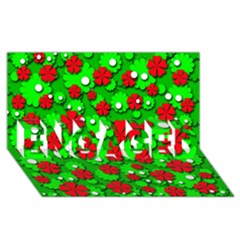 Xmas flowers ENGAGED 3D Greeting Card (8x4)