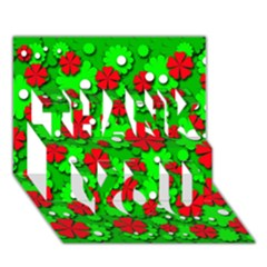 Xmas flowers THANK YOU 3D Greeting Card (7x5)