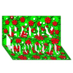 Xmas flowers Happy New Year 3D Greeting Card (8x4)