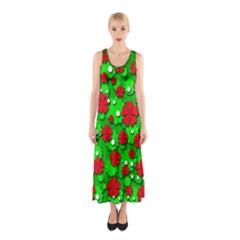 Xmas flowers Sleeveless Maxi Dress