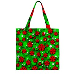 Xmas flowers Grocery Tote Bag