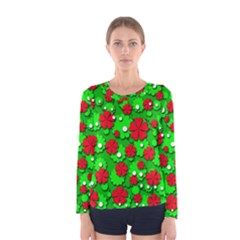 Xmas flowers Women s Long Sleeve Tee