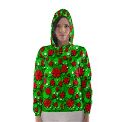 Xmas flowers Hooded Wind Breaker (Women)
