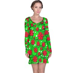 Xmas flowers Long Sleeve Nightdress