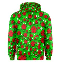 Xmas flowers Men s Zipper Hoodie