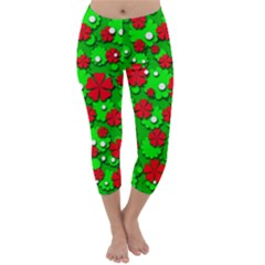 Xmas flowers Capri Winter Leggings