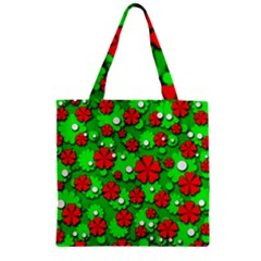 Xmas flowers Zipper Grocery Tote Bag