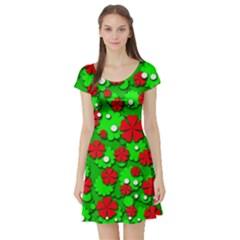 Xmas flowers Short Sleeve Skater Dress
