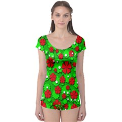 Xmas flowers Boyleg Leotard