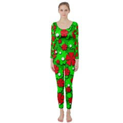 Xmas flowers Long Sleeve Catsuit