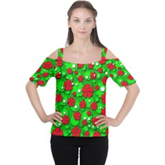 Xmas flowers Women s Cutout Shoulder Tee