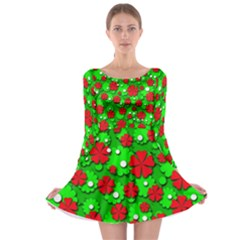Xmas flowers Long Sleeve Skater Dress