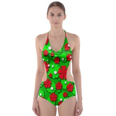 Xmas flowers Cut-Out One Piece Swimsuit