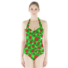 Xmas flowers Halter Swimsuit