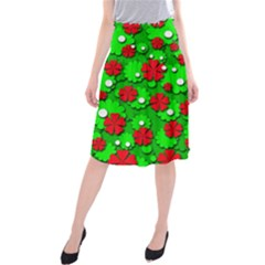 Xmas flowers Midi Beach Skirt