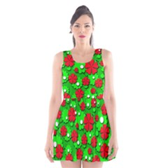 Xmas flowers Scoop Neck Skater Dress