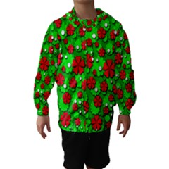 Xmas flowers Hooded Wind Breaker (Kids)