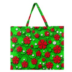 Xmas flowers Zipper Large Tote Bag