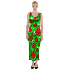 Xmas flowers Fitted Maxi Dress