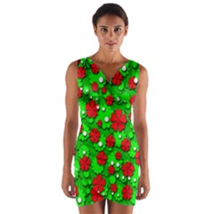 Xmas flowers Wrap Front Bodycon Dress