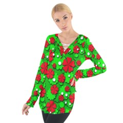 Xmas flowers Women s Tie Up Tee