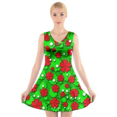 Xmas flowers V-Neck Sleeveless Skater Dress
