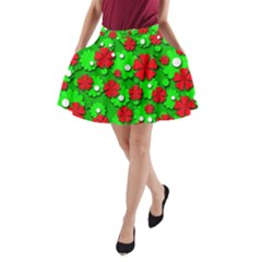 Xmas flowers A-Line Pocket Skirt