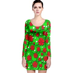 Xmas flowers Long Sleeve Velvet Bodycon Dress