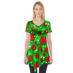 Xmas flowers Short Sleeve Tunic