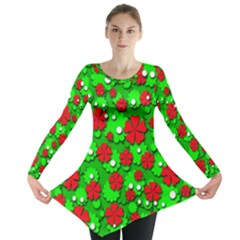 Xmas flowers Long Sleeve Tunic