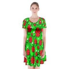 Xmas flowers Short Sleeve V-neck Flare Dress