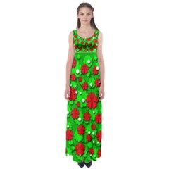Xmas flowers Empire Waist Maxi Dress