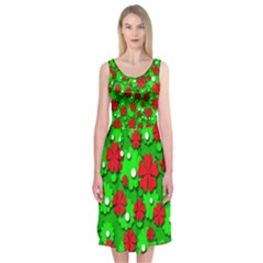 Xmas flowers Midi Sleeveless Dress