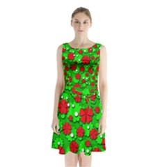 Xmas flowers Sleeveless Chiffon Waist Tie Dress