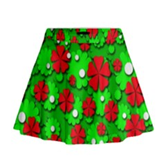 Xmas flowers Mini Flare Skirt