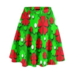 Xmas flowers High Waist Skirt