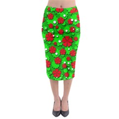Xmas flowers Midi Pencil Skirt