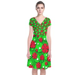 Xmas flowers Short Sleeve Front Wrap Dress