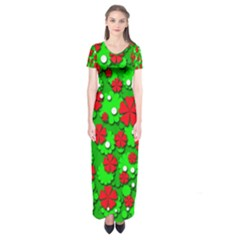 Xmas flowers Short Sleeve Maxi Dress