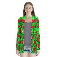 Xmas flowers Drape Collar Cardigan