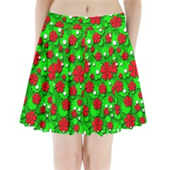Xmas flowers Pleated Mini Skirt