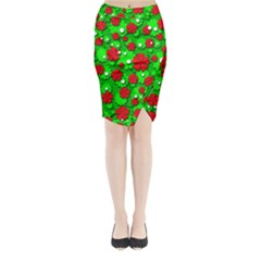 Xmas flowers Midi Wrap Pencil Skirt