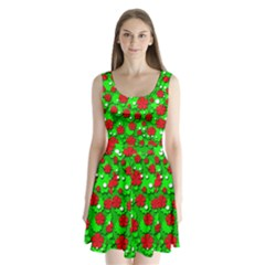 Xmas flowers Split Back Mini Dress