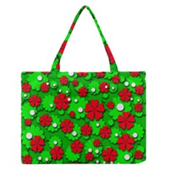 Xmas flowers Medium Zipper Tote Bag