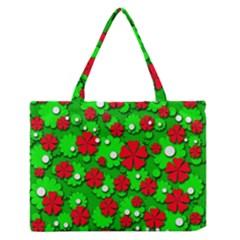 Xmas flowers Medium Zipper Tote Bag